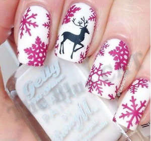 Nail Art Water Decals Stickers Christmas 2020 Pink Snowflakes ,Black Reindeers