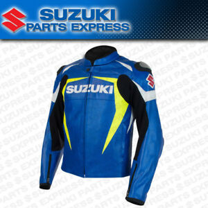 NEW SUZUKI MENS VENTED LEATHER RIDING JACKET BLUE YELLOW GSXR 600 750 1000 BUSA