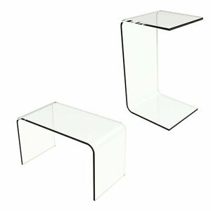 Acrylic End Table Clear C Style Modern See Through Laptop Desk Bed 24 x 14 x 12