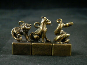 3Pics Good Quality Chinese Brass Hand Made *Tiger & Dog W/Snake* Seals FF111