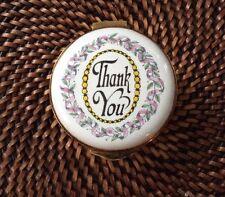 "Crummles England Trinket Box Hand Painted Enamel ""Thank You"""