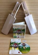 Wii CRICKET BUNDLE ~ Wii CRICKET GAME WITH MANUAL + 2 CRICKET BAT CONTROLLERS