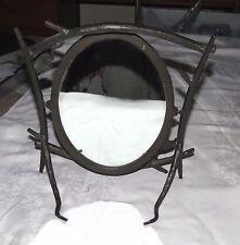 "Wrought Iron Pseudo-wood Oval 9.1/2"" x 7"" Tilt Vanity Dresser Mirror - Excellent"