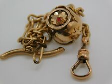 Victorian/Vintage Gold Filled Pocket Watch Chain w/Jeweled Fob Scrap/Use 6g H65