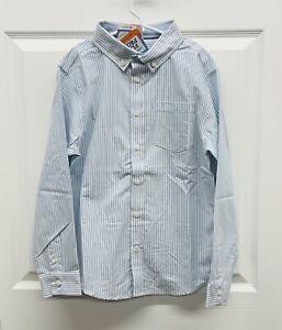 NWT Gymboree Boys White & Lt. Blue Striped Button Down Dress Shirt LARGE (10-12)