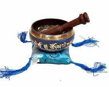 Tibetan Singing Bowl Set for Relaxation and Healing (Blue)