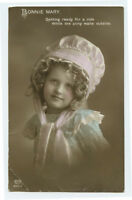 c 1912 Child Children Pretty BONNIE MARY Girl British tinted photo postcard