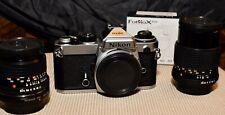 Nikon FE 35mm SLR  /Lens Bundl. W/ Minolta Celtic 28 2.8 & 135 3.5 +Adap. Mint-
