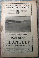 1962 CARDIFF v LLANELLI programme
