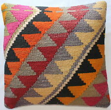 (50*50cm, 20inch) Authentic vintage handwoven kilim cushion cover geometric pink