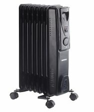 Daewoo 1500W Portable Oil Filled Radiator Heater with Thermostat Control - Black