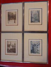 Magnifique Lot of 4 glass framed limited etchings Estampes