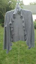 MARYSTYLE Italy Purple Open Ruffle Front  Cardigan Sweater M. NWOT.