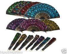 12 PCS LOT Foldable Peacock Shining Sequins Hand Fan Bead Black Fabric Decor