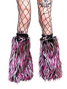 Fluffy Leg Warmers Legwarmers Black White Pink Neon Fluffies Rave Clubwear Furry