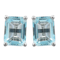 925 Sterling Silver Sky Blue Topaz Gemstone  Earring  2.9 gms for chritmas