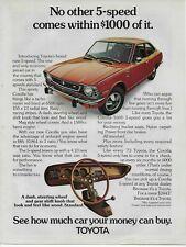 1973 Toyota Corolla 5-Speed Racing Stripes Color Original Vintage Print Ad