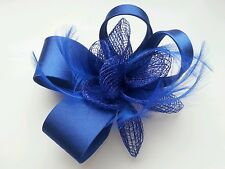 Beautiful  Royal Blue  feather & flower design facinator wedding/005