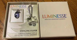 NEW Luminesse Swarovski Crystal Pendant Necklace In Box Sterling Silver