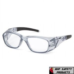 Pyramex Emerge Plus Clear Full Reader Gray Frame Reading Safety Glasses Z87+