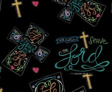 #1205 FAT QUARTER FABRIC  Chalk Board Toss, Serve the Lord