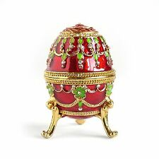 Hand Painted Rich Red/Gold Rhinestone Finish Vintage Style Faberge Egg Box Gift