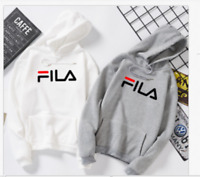 New FILA Black/Gray/White Long Sleeve Hoodie Sweatshirt Men's Women Jacket Coat