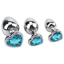 Anal Butt Plug Large Blue Heart Shaped Metal Jewel Rhinestone Sex Toy S/M/L