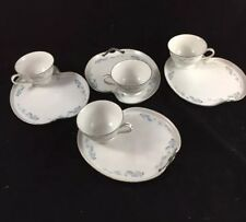 8 Piece Set of Vintage Blue Flowers Silver Border From Japan