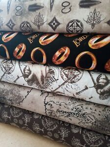 Lord of The Rings Licensed Cotton Fabric 5 Designs, Per 50cm, 110cm Wide