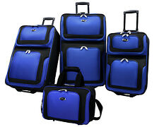 US Traveler Blue New Yorker 4-Piece Expandable Rolling Luggage Suitcase Tote Set