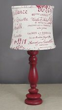 Red Spindle Accent Lamp with Red Script Shade