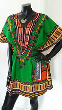 Hippie Boho Tribal African Dashiki Cotton Top Dress Kaftan Green Mexican Poncho