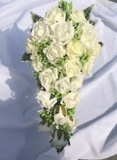 Wedding Flowers Ivory Bride's Shower Bouquet With Green Gyp Variagated Ivy