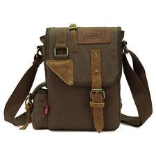 Mens Small Vintage Canvas Satchel School Military Shoulder Bag Messenger Bag