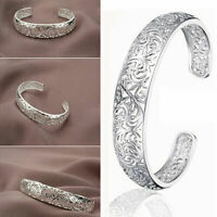Classic 925 Sterling Silver Hoops Women Hollow Cuff Bangle Open Bracelet Gift