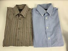 KENNETH ROBERTS PLATINUM Men's Dress Shirt Blue Striped 2Ply Cotton Brown 16.5 M