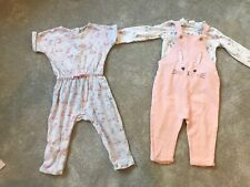 H&M Matalan Baby Girls Bunny Dungarees All In One 12-18 Months Outfit