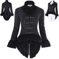 Vintage Retro Victorian GOTHIC Corset Jacquard Jacket Coat Outwear Tops Black UK