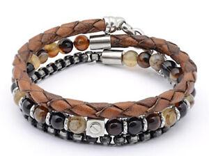 Designer - H2on Stainless Steel & Brown 3 Strand Wrap around Leather Bracelet