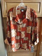 Animal Print Blouse Shirt Rust Gold Brown Beige 24W, NEW w/ TAGS!  $45.00