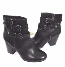 New Via Spiga Leather Women's Heels Buckle Detail Ankle Boots Booties Size 9.5