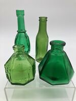 Vintage Green Glass Bottles Small Medicine Apothecary Bottles Lot of 4
