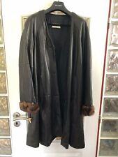 Umberto Olivieri Leather Coat with Fur  Sleeves Italian size 42/44