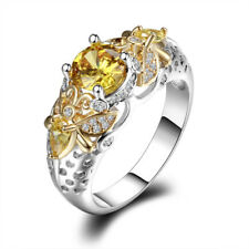 925 Silver Queen of Bee Butterfly Citrine Gem Ring Wedding Engagement Wholesale