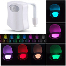 Toilet Night Light 8Color LED Motion Activated Sensor Lamp Bathroom Seat Bowl QE