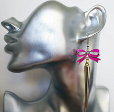 Sexy Neon Pink Bow And Gold Tone Spike Dangle Orecchini pendenti con cristallo