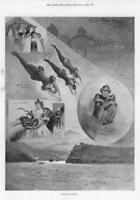 1898 Antique Print  -  LONDON Olympia Facts Freaks Monkey Pigmy Snakes  (169)