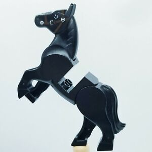 USED LEGO | Animals - Black Horse Movable Legs White Eyes Dark Brown Bridle