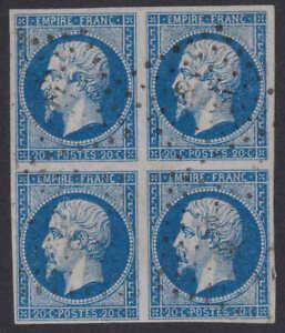 1853, 20c bleu, block of 4, Y&T/Maury #14, 4 large even margins, lovely item
